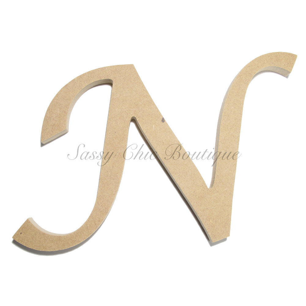 "DIY-Unfinished Wooden Letter - Uppercase ""N"" - Lucida Calligraphy Font-Sassy Chic Boutique"