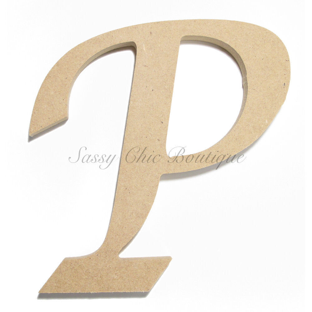 "DIY-Unfinished Wooden Letter - Uppercase ""P"" - Lucida Calligraphy Font-Sassy Chic Boutique"