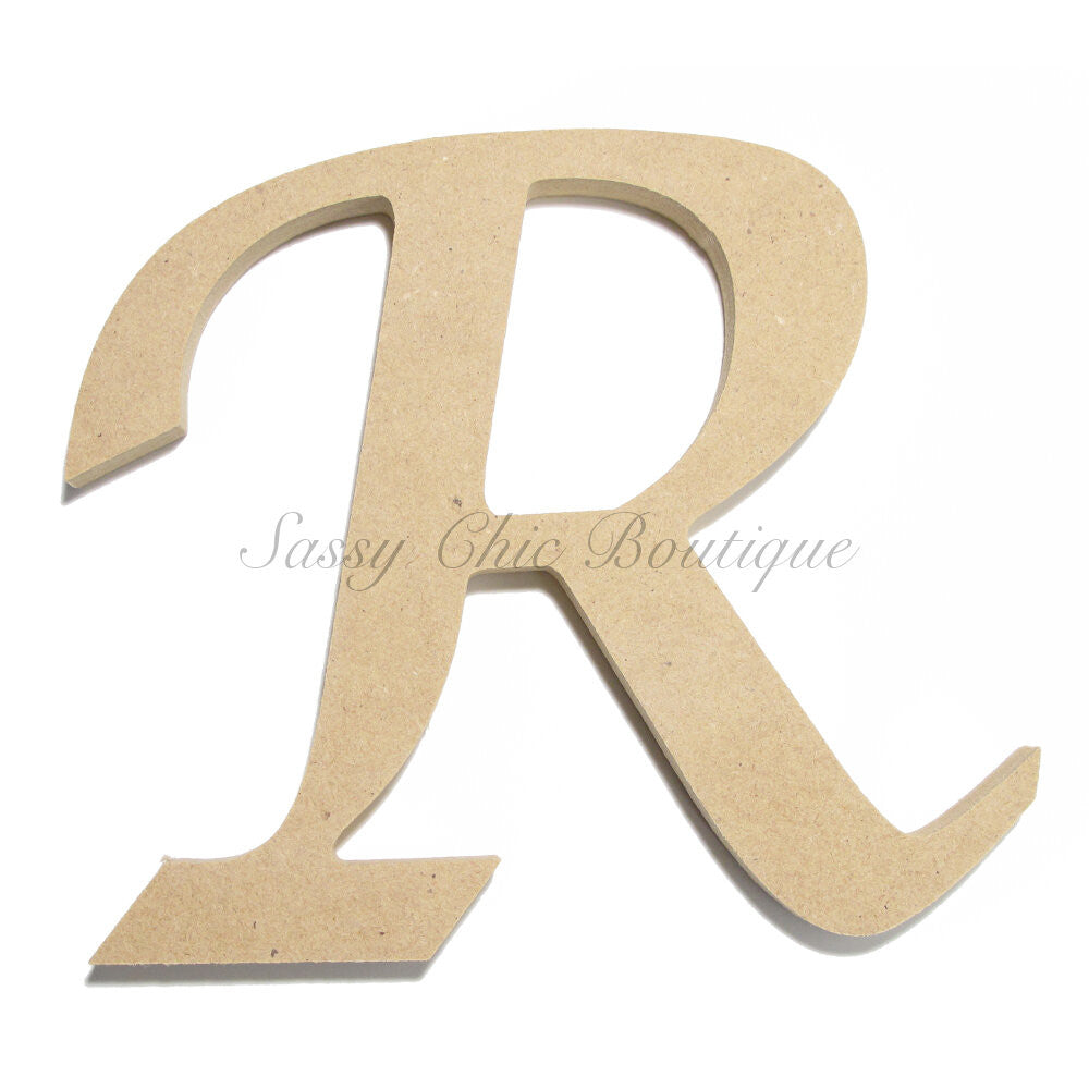 "DIY-Unfinished Wooden Letter - Uppercase ""R"" - Lucida Calligraphy Font-Sassy Chic Boutique"