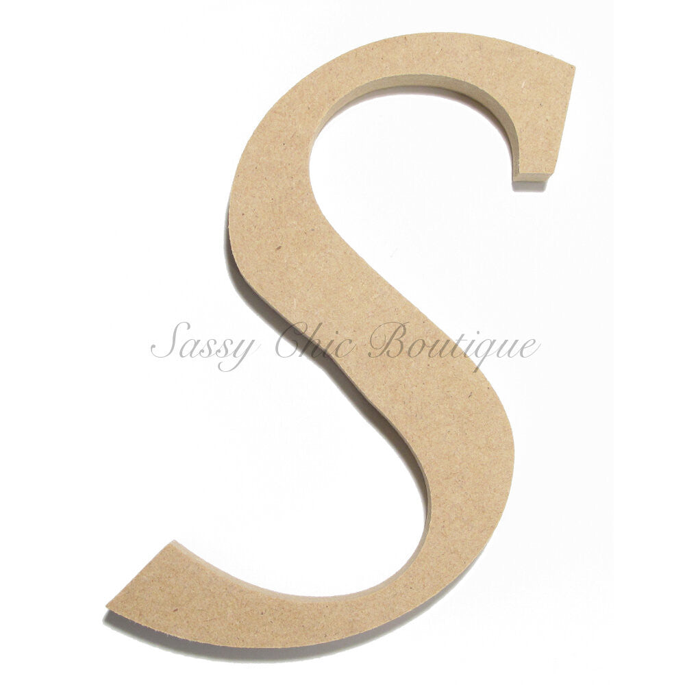 "DIY-Unfinished Wooden Letter - Uppercase ""S"" - Lucida Calligraphy Font-Sassy Chic Boutique"