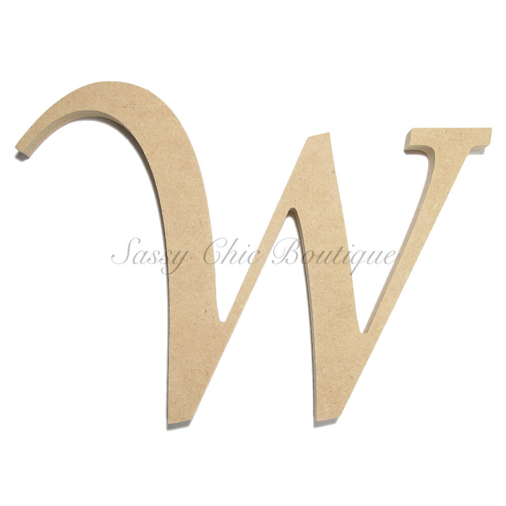 "DIY-Unfinished Wooden Letter - Uppercase ""W"" - Lucida Calligraphy Font-Sassy Chic Boutique"