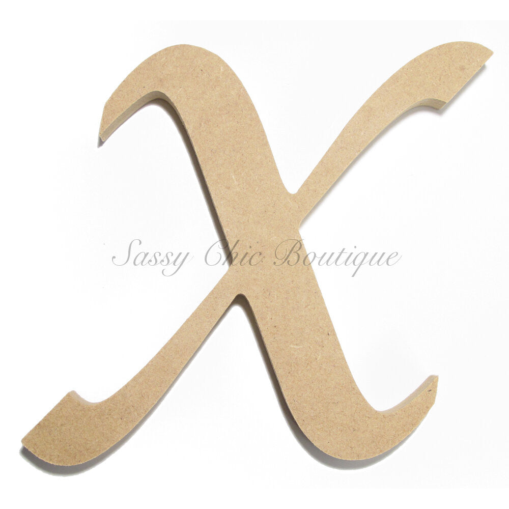"DIY-Unfinished Wooden Letter - Uppercase ""X"" - Lucida Calligraphy Font-Sassy Chic Boutique"