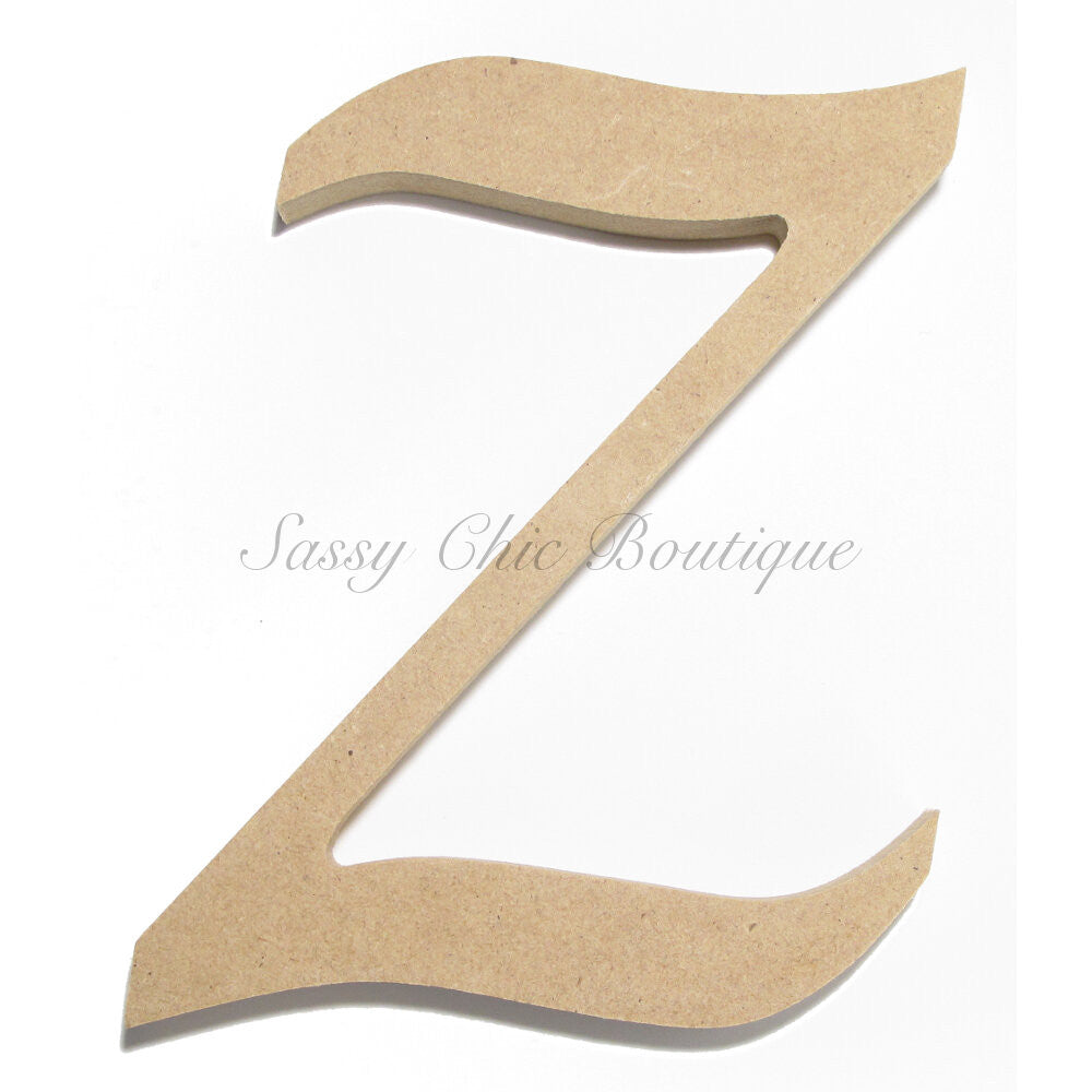 "DIY-Unfinished Wooden Letter - Uppercase ""Z"" - Lucida Calligraphy Font-Sassy Chic Boutique"