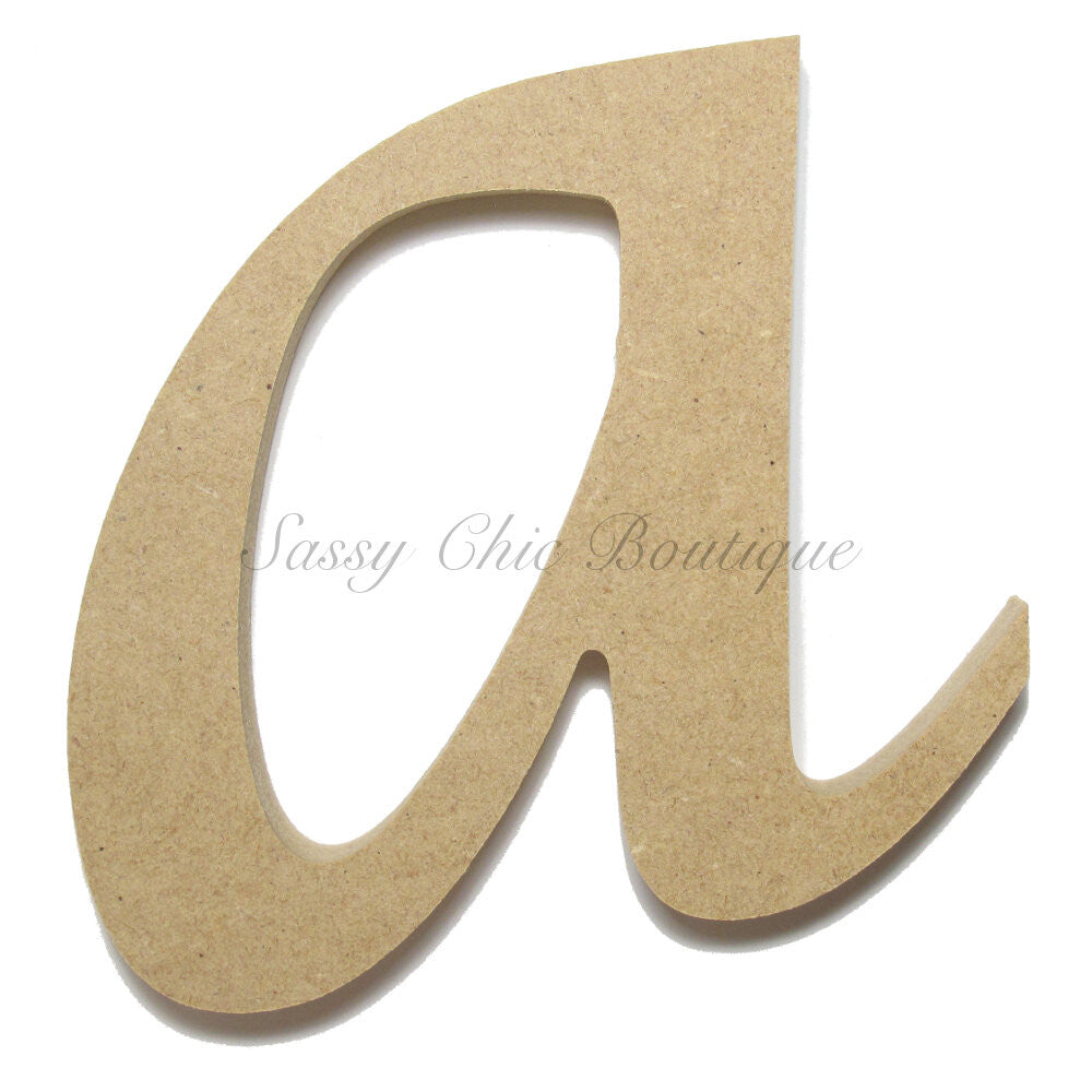 "DIY-Unfinished Wooden Letter - Lowercase ""a""- Lucida Calligraphy Font-Sassy Chic Boutique"