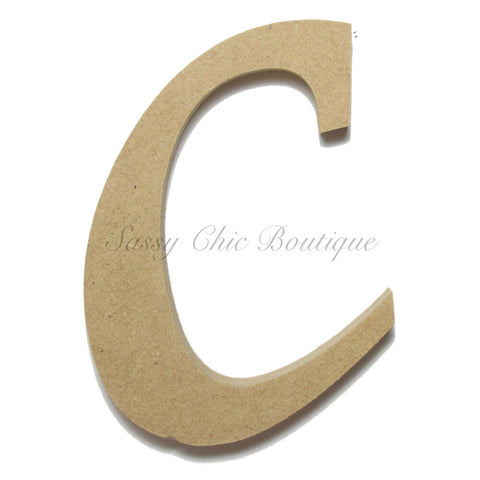 "Unfinished Wooden Letter - Lowercase ""c""- Lucida Calligraphy Font"