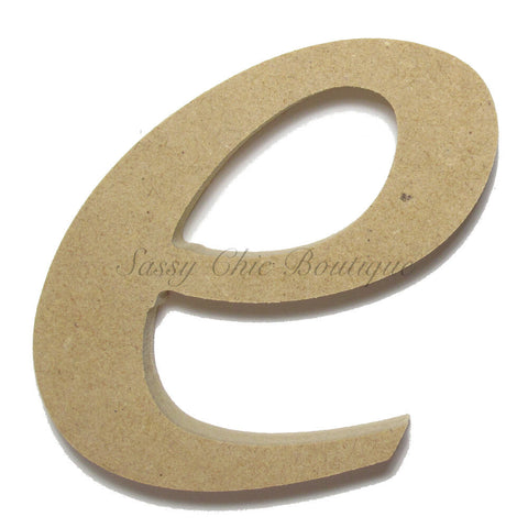 "Unfinished Wooden Letter - Lowercase ""e""- Lucida Calligraphy Font"