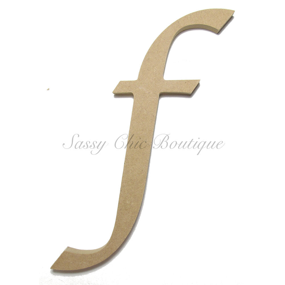"DIY-Unfinished Wooden Letter - Lowercase ""f""- Lucida Calligraphy Font-Sassy Chic Boutique"