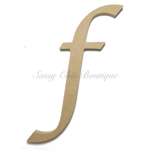"Unfinished Wooden Letter - Lowercase ""f""- Lucida Calligraphy Font"
