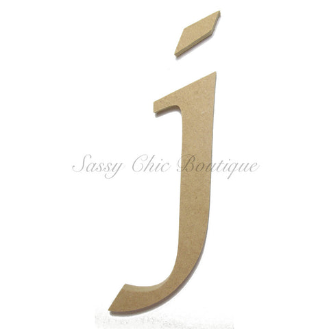 "Unfinished Wooden Letter - Lowercase ""j""- Lucida Calligraphy Font"