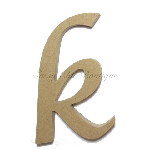 "Unfinished Wooden Letter - Lowercase ""k""- Lucida Calligraphy Font"