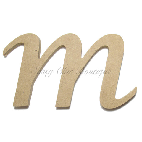 "Unfinished Wooden Letter - Lowercase ""m""- Lucida Calligraphy Font"