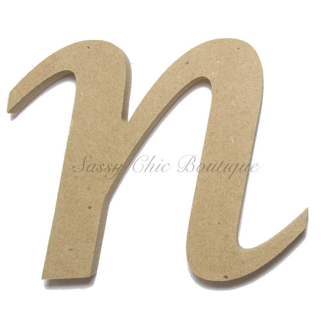 "Unfinished Wooden Letter - Lowercase ""n""- Lucida Calligraphy Font"