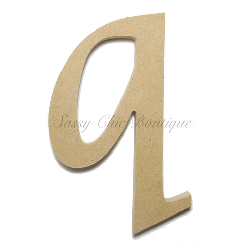 "Unfinished Wooden Letter - Lowercase ""q""- Lucida Calligraphy Font"