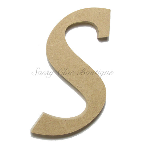 "Unfinished Wooden Letter - Lowercase ""s""- Lucida Calligraphy Font"
