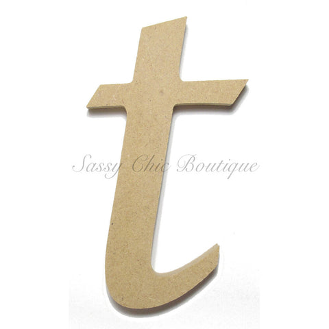 "Unfinished Wooden Letter - Lowercase ""t""- Lucida Calligraphy Font"