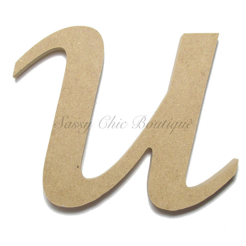 "Unfinished Wooden Letter - Lowercase ""u"" - Lucida Calligraphy Font"