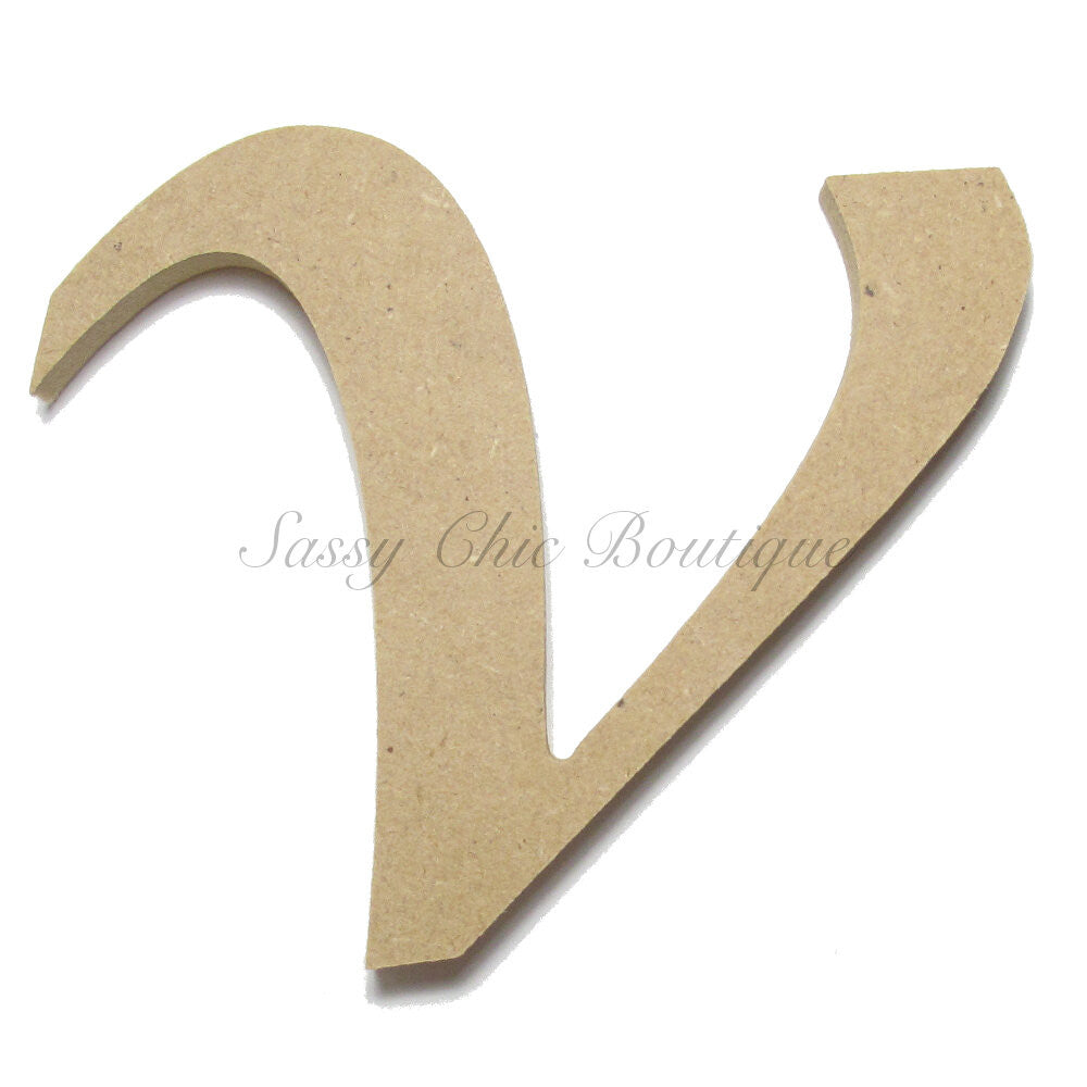 "DIY-Unfinished Wooden Letter - Lowercase ""v"" - Lucida Calligraphy Font-Sassy Chic Boutique"