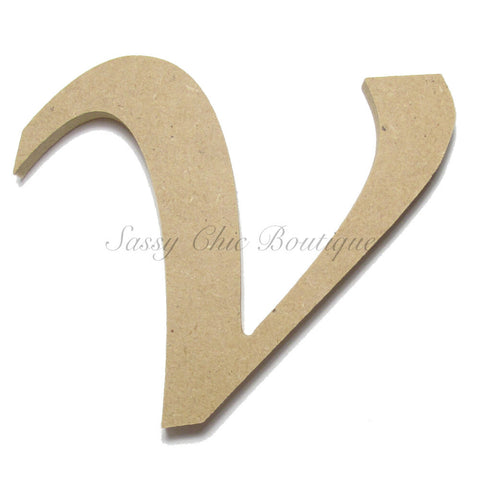 "Unfinished Wooden Letter - Lowercase ""v"" - Lucida Calligraphy Font"
