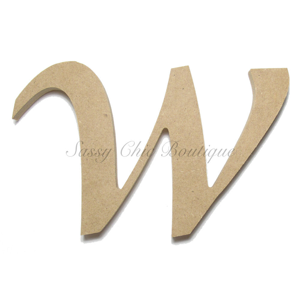 "DIY-Unfinished Wooden Letter - Lowercase ""w"" - Lucida Calligraphy Font-Sassy Chic Boutique"
