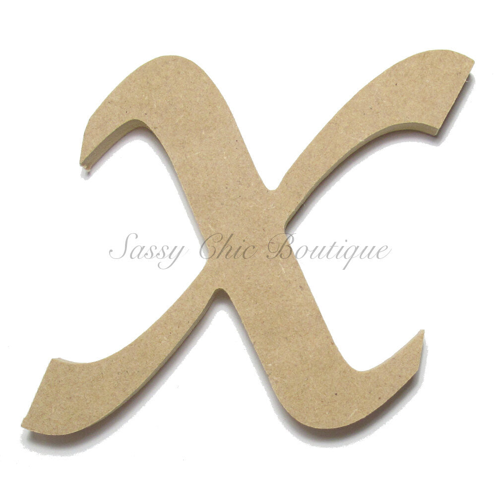 "DIY-Unfinished Wooden Letter - Lowercase ""x"" - Lucida Calligraphy Font-Sassy Chic Boutique"