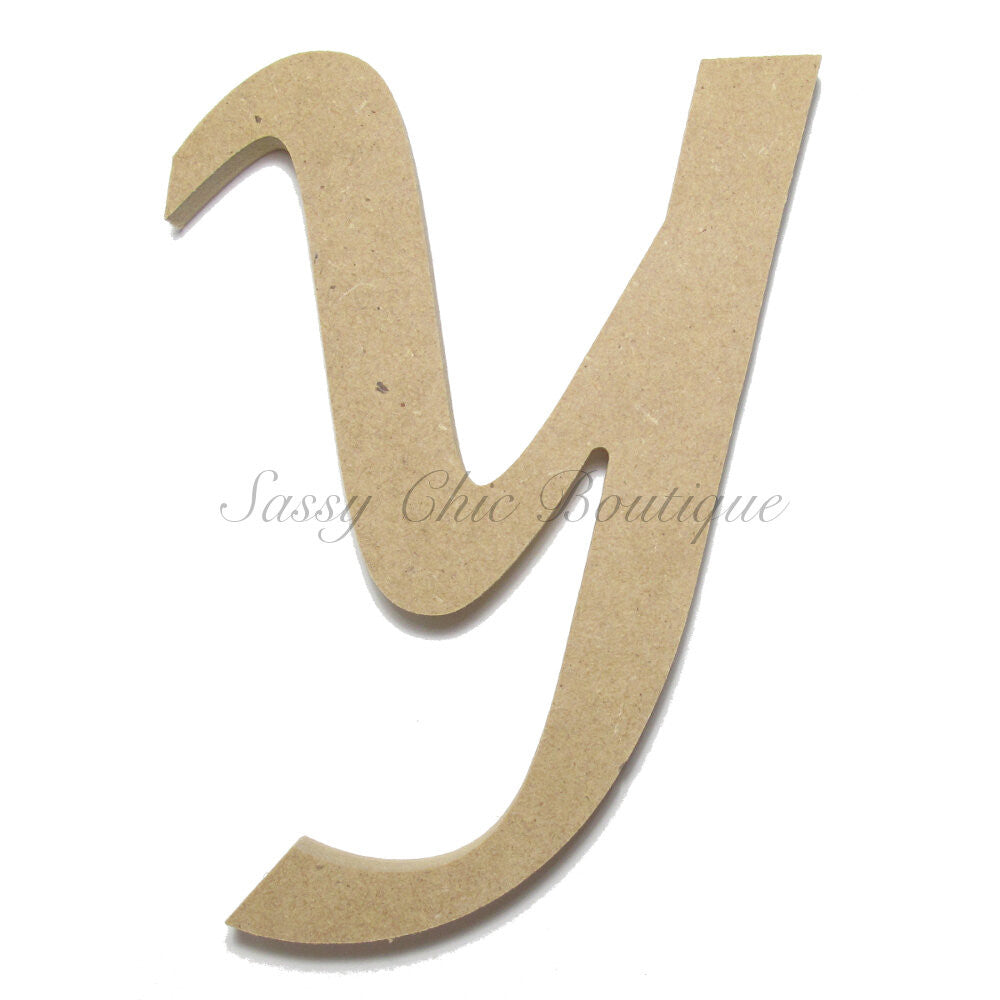 "DIY-Unfinished Wooden Letter - Lowercase ""y"" - Lucida Calligraphy Font-Sassy Chic Boutique"