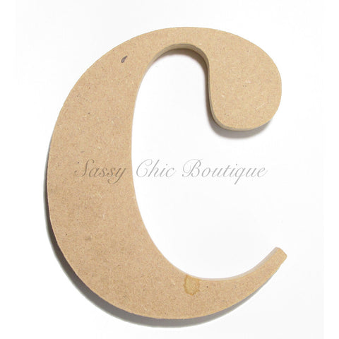 "Unfinished Wooden Letter - Lowercase ""c""- Times Font"
