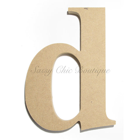 "Unfinished Wooden Letter - Lowercase ""d""- Times Font"