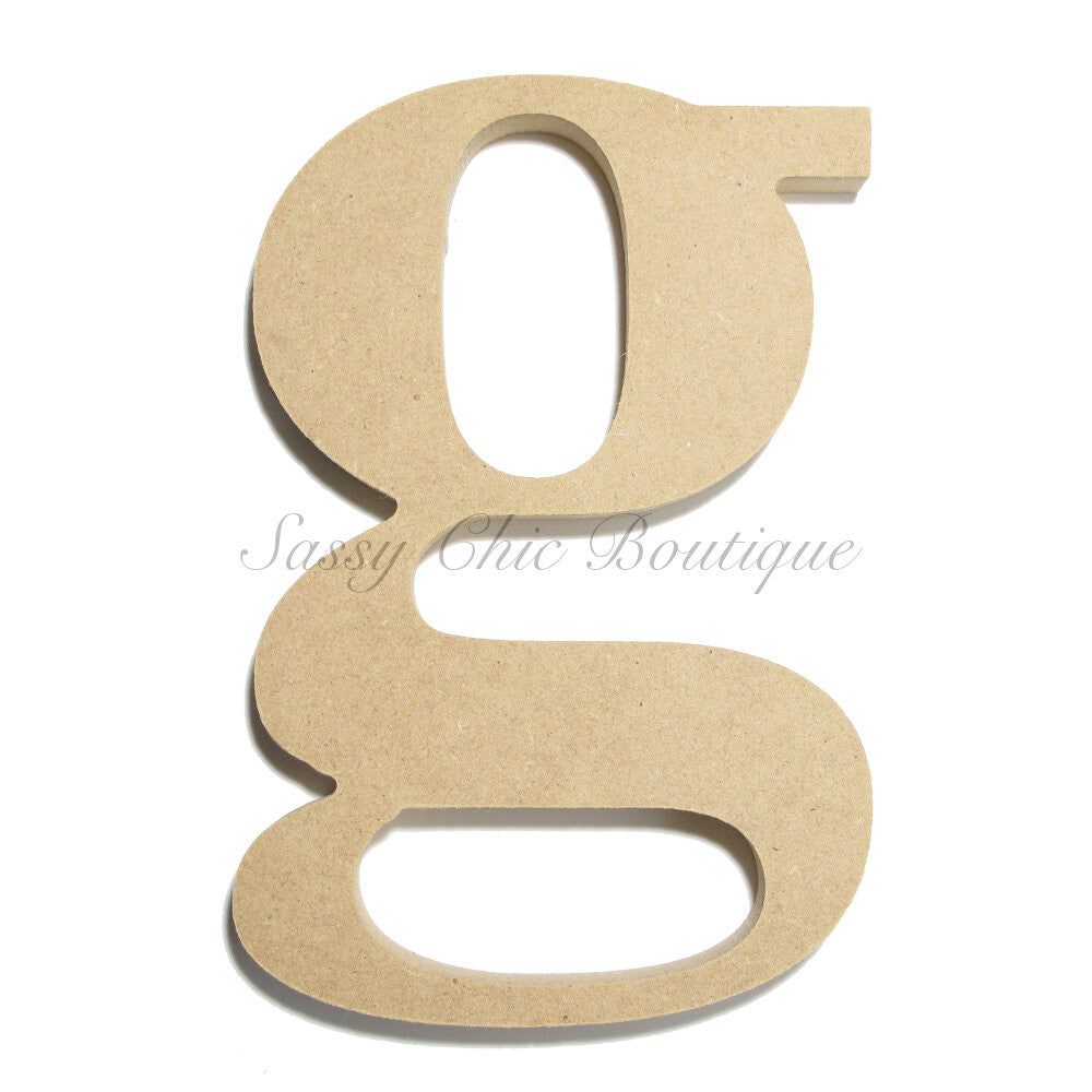 "DIY-Unfinished Wooden Letter - Lowercase ""g""- Times Font-Sassy Chic Boutique"