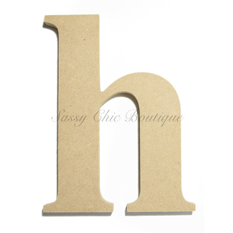 "Unfinished Wooden Letter - Lowercase ""h""- Times Font"