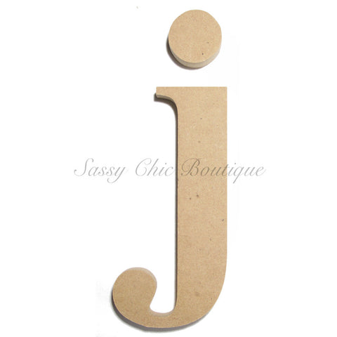 "Unfinished Wooden Letter - Lowercase ""j""- Times Font"