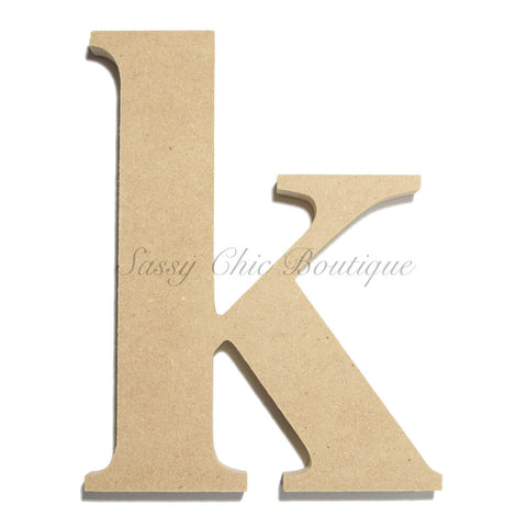 "Unfinished Wooden Letter - Lowercase ""k""- Times Font"