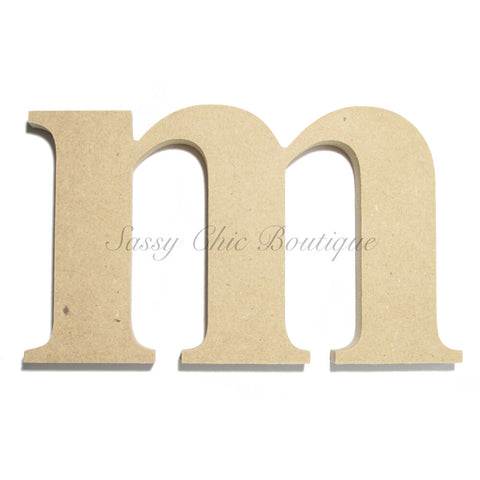 "Unfinished Wooden Letter - Lowercase ""m""- Times Font"