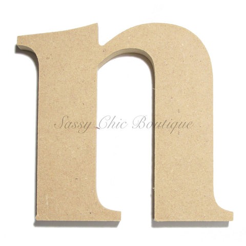 "Unfinished Wooden Letter - Lowercase ""n""- Times Font"