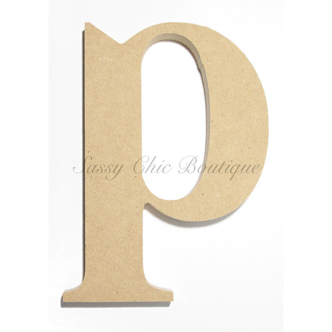 "Unfinished Wooden Letter - Lowercase ""p""- Times Font"