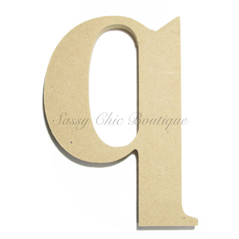 "Unfinished Wooden Letter - Lowercase ""q""- Times Font"