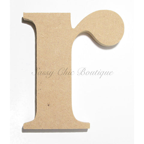 "Unfinished Wooden Letter - Lowercase ""r""- Times Font"