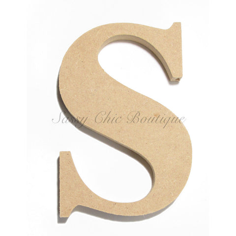 "Unfinished Wooden Letter - Lowercase ""s""- Times Font"