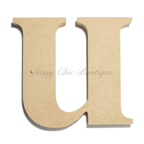 "Unfinished Wooden Letter - Lowercase ""u"" - Times Font"