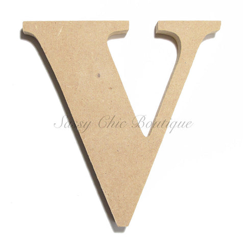 "Unfinished Wooden Letter - Lowercase ""v"" - Times Font"