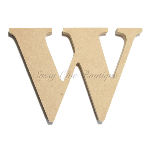 "Unfinished Wooden Letter - Lowercase ""w"" - Times Font"