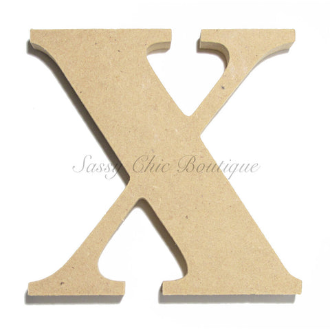 "Unfinished Wooden Letter - Lowercase ""x"" - Times Font"