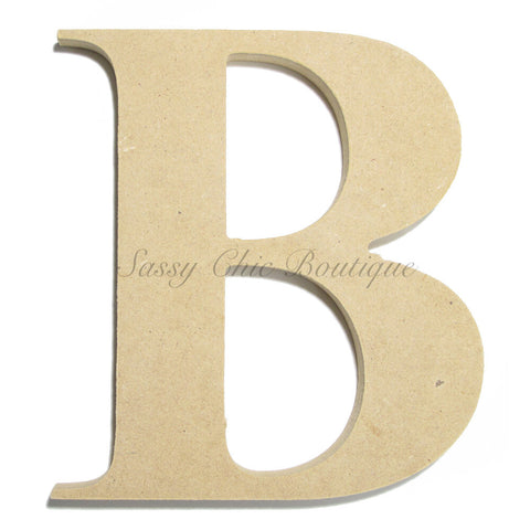 "Unfinished Wooden Letter - Uppercase ""B"" - Times Font"