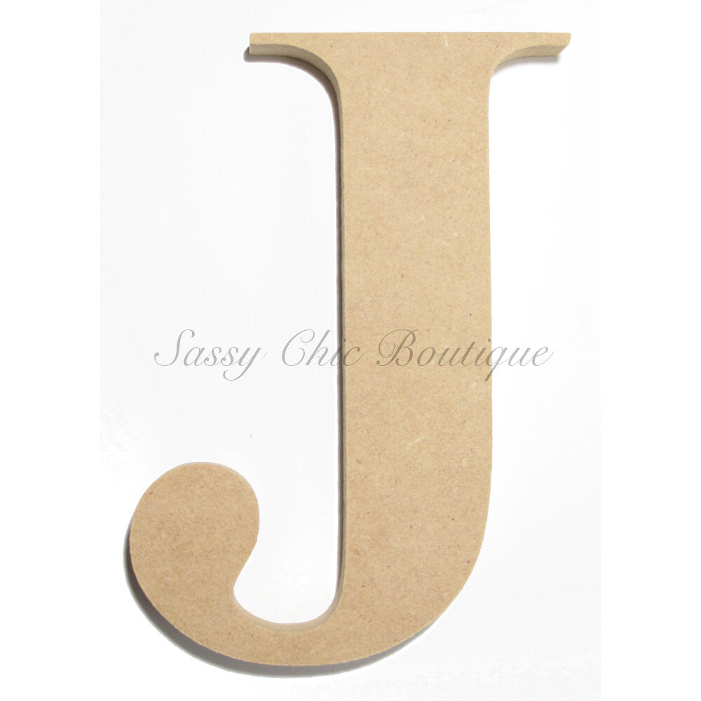 "DIY-Unfinished Wooden Letter - Uppercase ""J"" - Times Font-Sassy Chic Boutique"