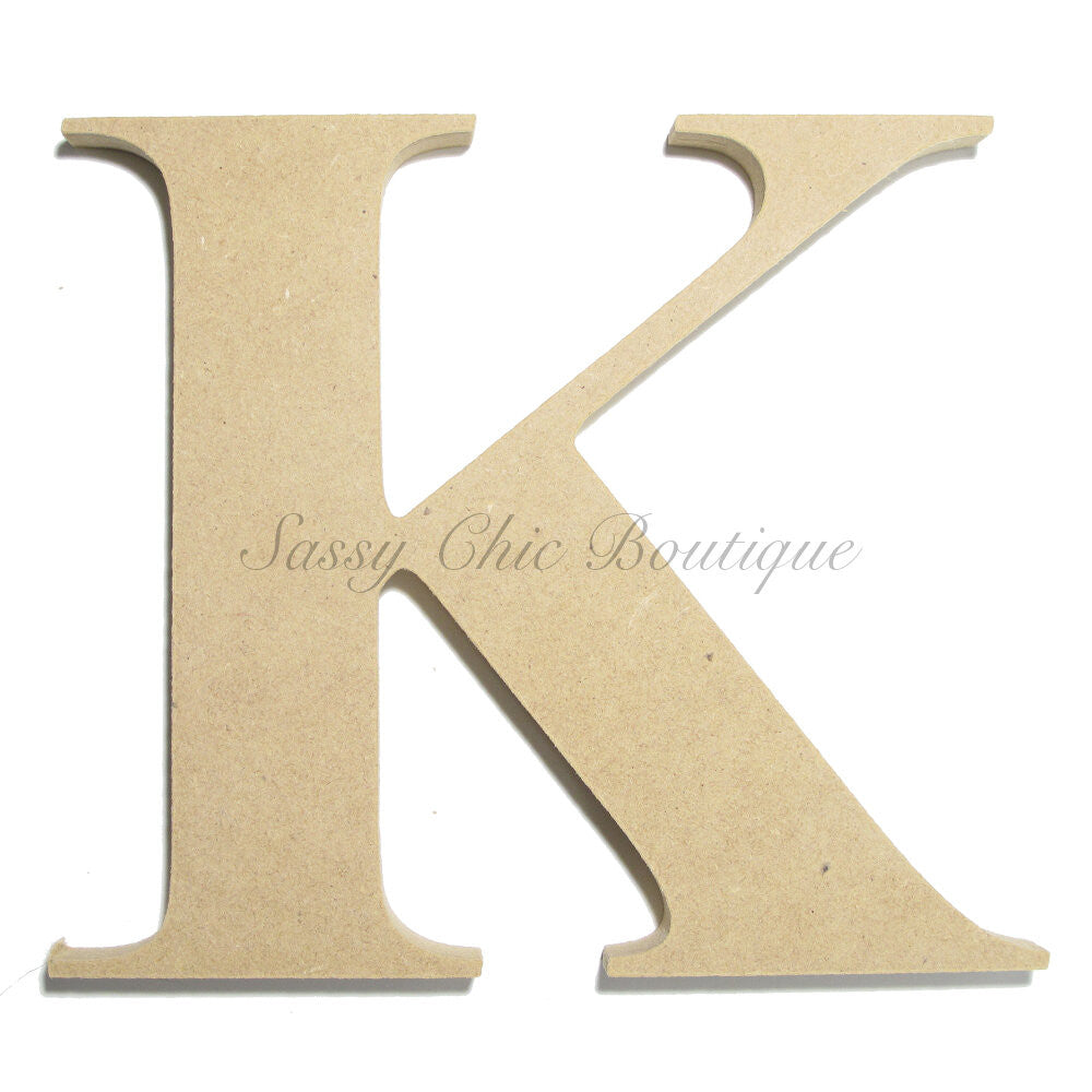 "DIY-Unfinished Wooden Letter - Uppercase ""K"" - Times Font-Sassy Chic Boutique"