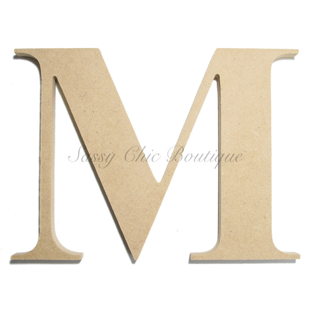 "DIY-Unfinished Wooden Letter - Uppercase ""M"" - Times Font-Sassy Chic Boutique"
