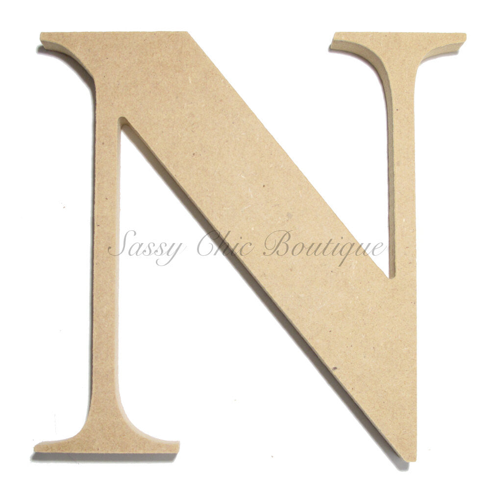 "DIY-Unfinished Wooden Letter - Uppercase ""N"" - Times Font-Sassy Chic Boutique"