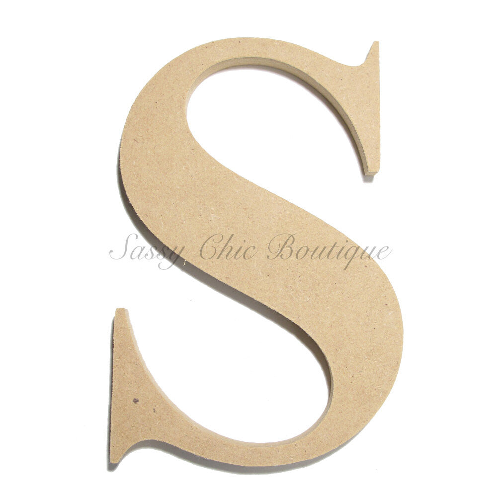 "DIY-Unfinished Wooden Letter - Uppercase ""S"" - Times Font-Sassy Chic Boutique"