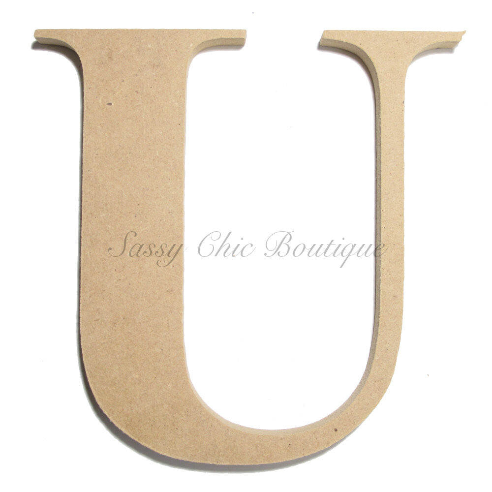 "DIY-Unfinished Wooden Letter - Uppercase ""U"" - Times Font-Sassy Chic Boutique"