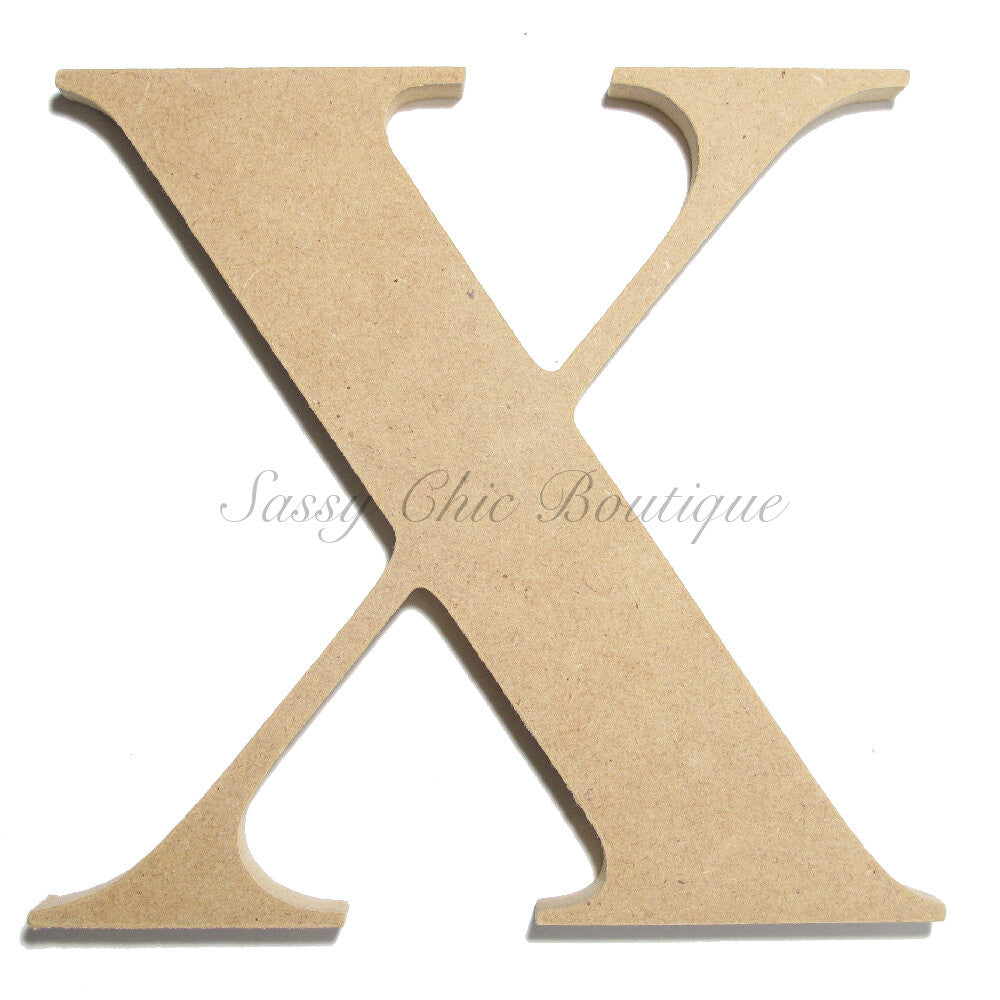 "DIY-Unfinished Wooden Letter - Uppercase ""X"" - Times Font-Sassy Chic Boutique"