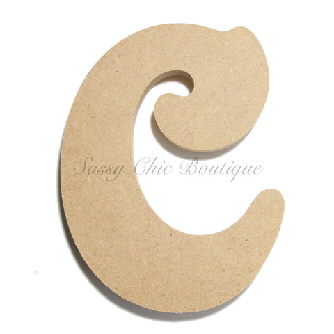 "Unfinished Wooden Letter - Lowercase ""c""- Victorian Font"